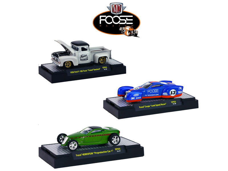 Chip Foose Release 3, 3 Cars Set WITH CASES 1/64 Diecast Model Cars by M2 Machines - BeTovi&co