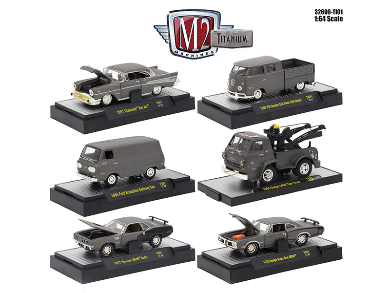 Titanium Release 1, 6 Cars Set IN DISPLAY CASES 1/64 Diecast Model Cars by M2 Machines - BeTovi&co