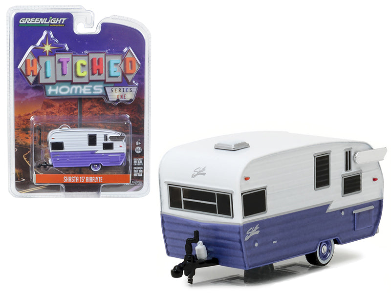 Shasta 15 - BeTovi&co Airflyte Trailer White and Purple 1/64 Diecast Model by Greenlight - BeTovi&co