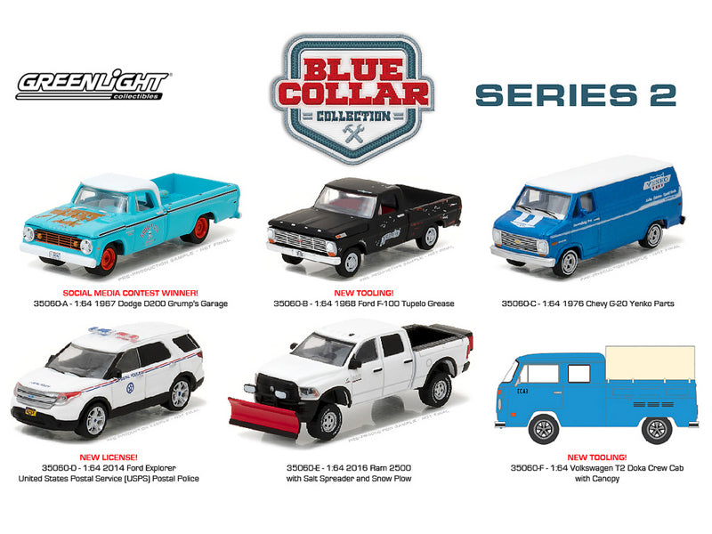 Blue Collar Collection Series 2, 6pc Diecast Car Set 1/64 Diecast Model Cars by Greenlight - BeTovi&co