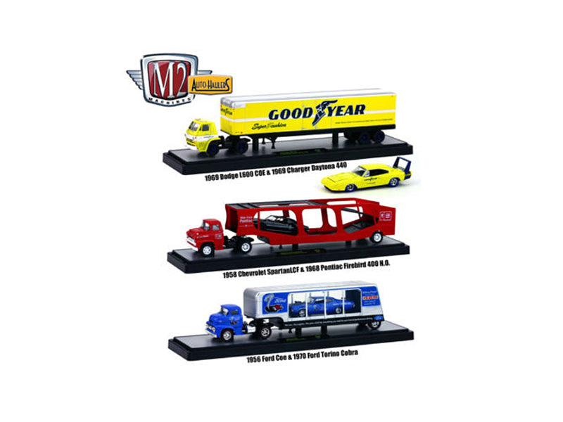 Auto Haulers Release 19 'B', 3 Trucks Set 1/64 Diecast Models by M2 Machines - BeTovi&co
