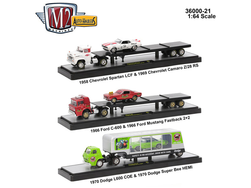 Auto Haulers Release 21, 3 Trucks Set 1/64 Diecast Models by M2 Machines - BeTovi&co
