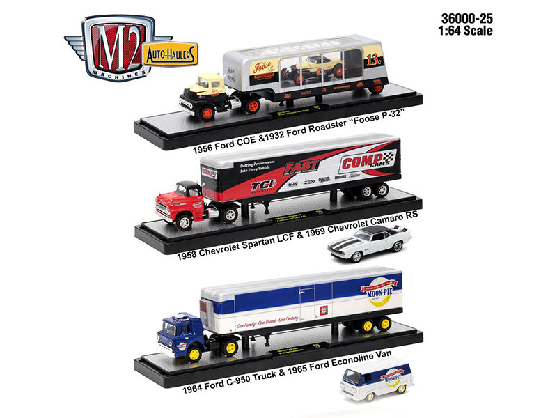 Auto Haulers Release 25, 3 Trucks Set 1/64 Diecast Models by M2 Machines - BeTovi&co