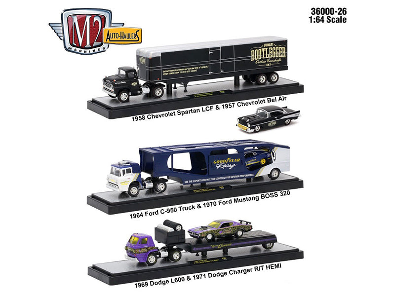 Auto Haulers Release 26, 3 Trucks Set 1/64 Diecast Models by M2 Machines - BeTovi&co