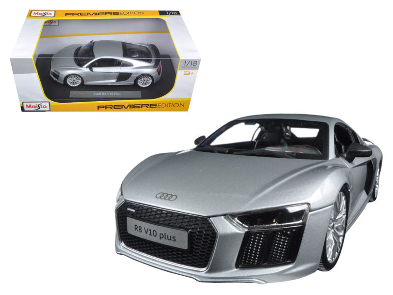 Audi R8 V10 Plus Silver 1/18 Diecast Model Car by Maisto - BeTovi&co