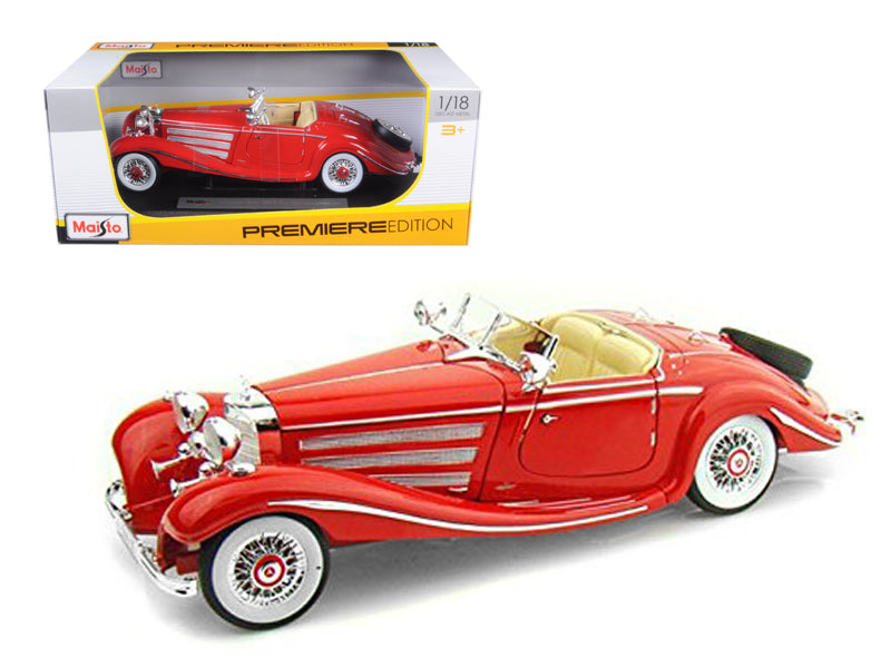 1936 Mercedes 500K Special Roadster Red 1/18 Diecast Model Car by Maisto - BeTovi&co