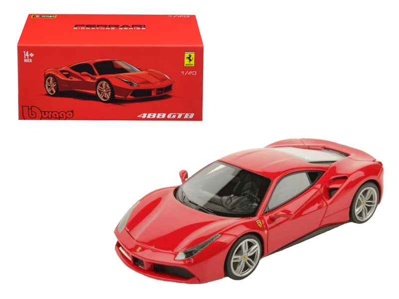Ferrari 488 GTB Red Signature Series 1/43 Diecast Model Car by Bburago - BeTovi&co