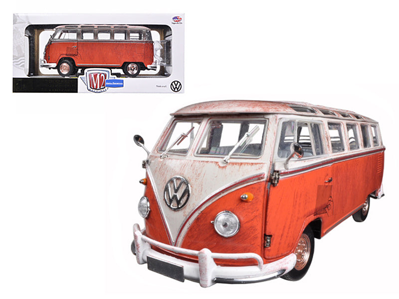 1960 Volkswagen Microbus Deluxe USA Model Red Rusted Verion 1/24 Diecast Model by M2 Machines - BeTovi&co