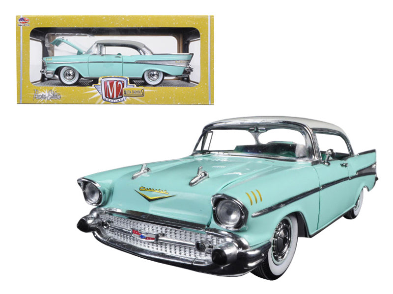 1957 Chevrolet Bel Air Hardtop Surf Green and India Ivory 1/24 Diecast Model Car by M2 Machines - BeTovi&co