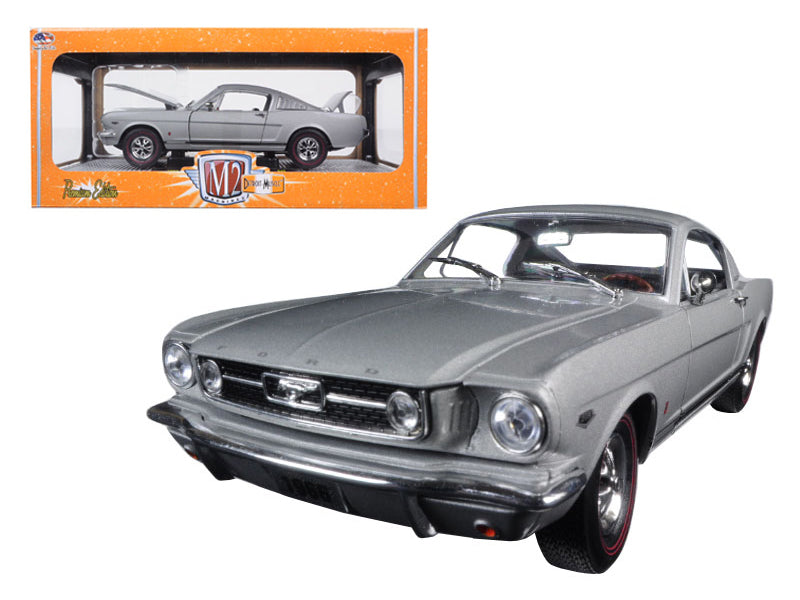 1966 Ford Mustang 2+2 GT Fastback Silver Frost with Black 1/24 Diecast Model Car by M2 Machines - BeTovi&co