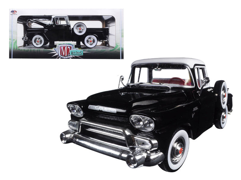 1958 GMC Stepside Truck Gloss Black and Dover White 1/24 Diecast Model by M2 Machines - BeTovi&co