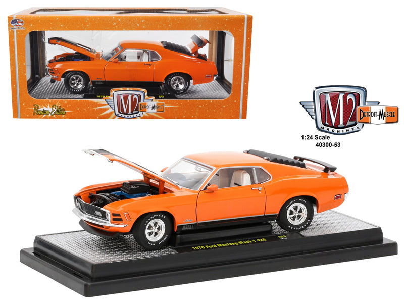 1970 Ford Mustang Mach 1 428 Grabber Orange 1/24 Diecast Model Car by M2 Machines - BeTovi&co