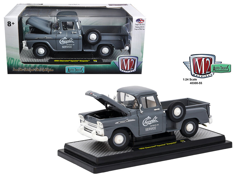 1958 Chevrolet Apache Stepside Truck Granite Gray 1/24 Diecast Model Car  by M2 Machines - BeTovi&co