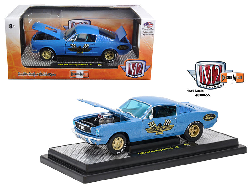1966 Ford Mustang 2+2 GT Fastback Metalflake Blue 1/24 Diecast Model Car by M2 Machines - BeTovi&co