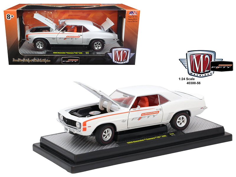 1969 Chevrolet Camaro SS 396 Pearl White and Orange Stripes 'Camaro Fifty Years Anniversary' Limited to 6000pc Worldwide 1/24 Diecast Model Car by M2 Machines - BeTovi&co