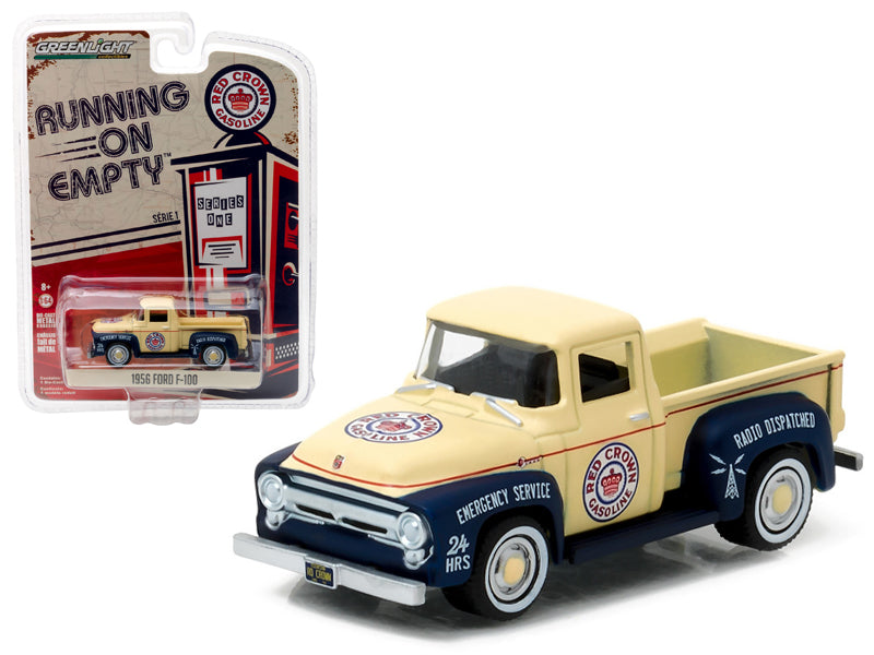 1956 Ford F-100 Red Crown Gasoline Pickup Truck 1/64 Diecast Model Car by Greenlight - BeTovi&co