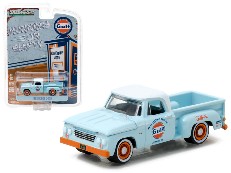 1963 Dodge D-100 Gulf Oil Pickup Truck 1/64 Diecast Model Car by Greenlight - BeTovi&co