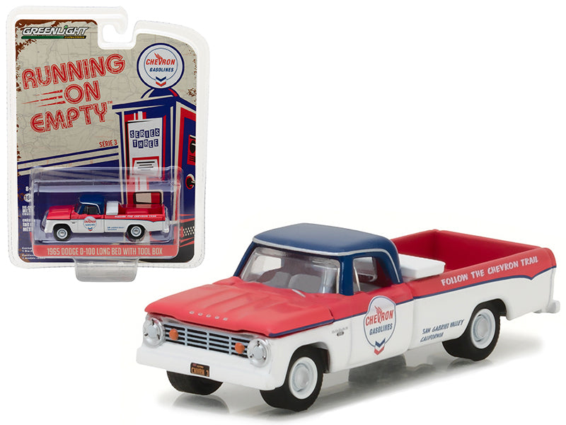 1965 Dodge D-100 Pickup Truck Chevron Long Bed with Tool Box 'Running on Empty' Series 3 1/64 Diecast Model Car by Greenlight - BeTovi&co