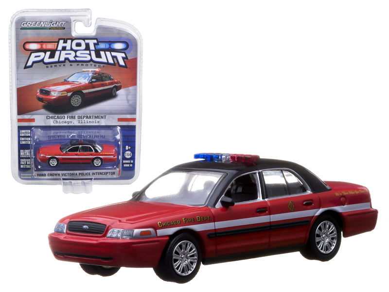 2010 Ford Crown Victoria Chicago Fire Department IN BLISTER 1/64 Diecast Model Car by Greenlight - BeTovi&co