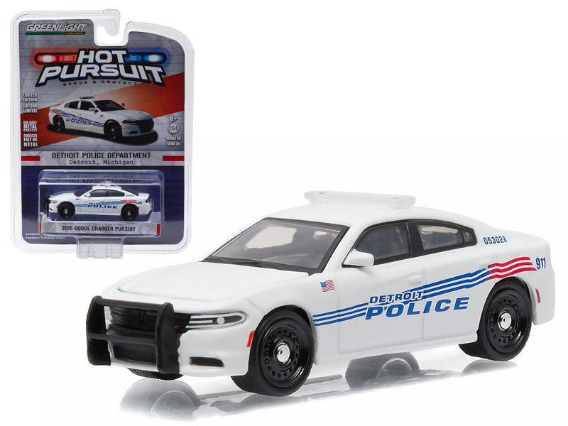 2015 Dodge Charger Pursuit Detroit Police Car 1/64 Diecast Model Car by Greenlight - BeTovi&co