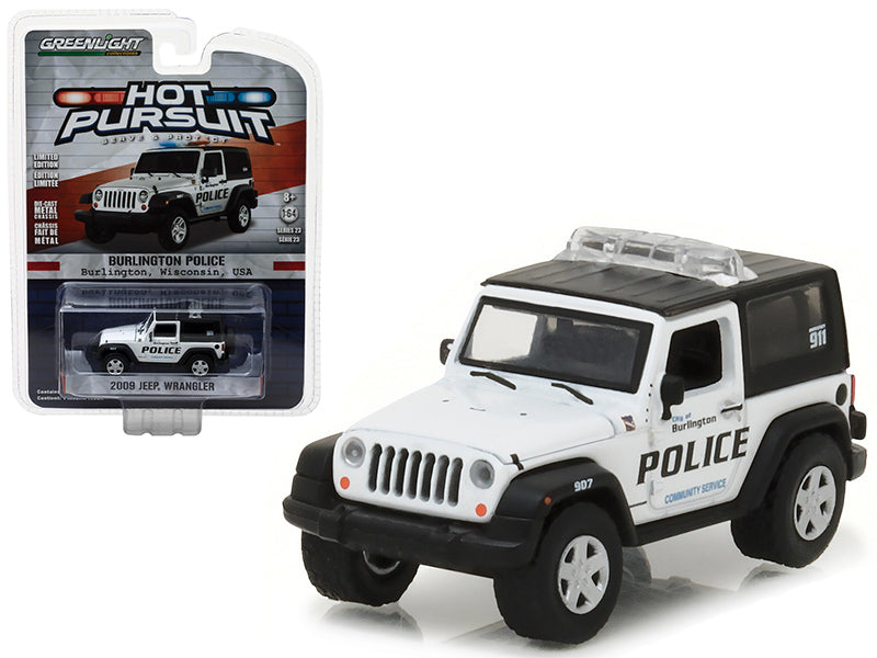 2009 Jeep Wrangler Burlington, Wisconsin Police Hot Pursuit Series 23 1/64 Diecast Model Car by Greenlight - BeTovi&co