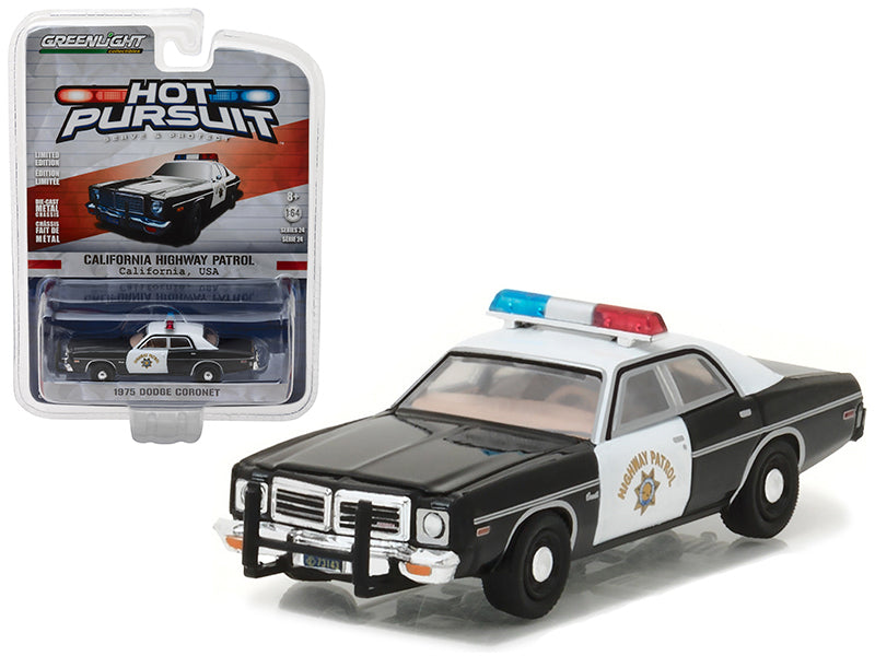 1975 Dodge Coronet California Highway Patrol (CHP) Hot Pursuit Series 24 1/64 Diecast Model Car by Greenlight - BeTovi&co