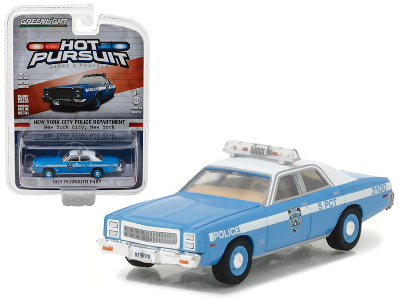 1977 Plymouth Fury New York Police Department (NYPD) Hot Pursuit Series 24 1/64 Diecast Model Car by Greenlight - BeTovi&co