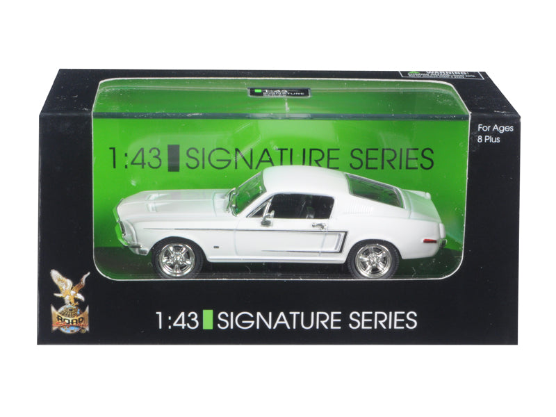 1968 Ford Mustang GT White Signature Series 1/43 Diecast Car by Road Signature - BeTovi&co