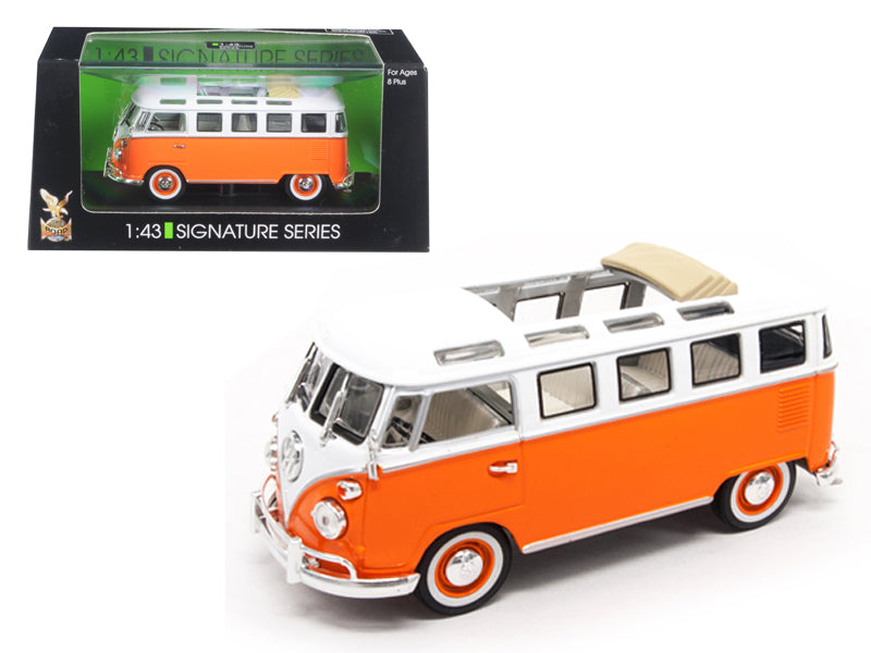 1962 Volkswagen Microbus Bus Van With Open Roof Orange 1/43 Diecast Model Car by Road Signature - BeTovi&co