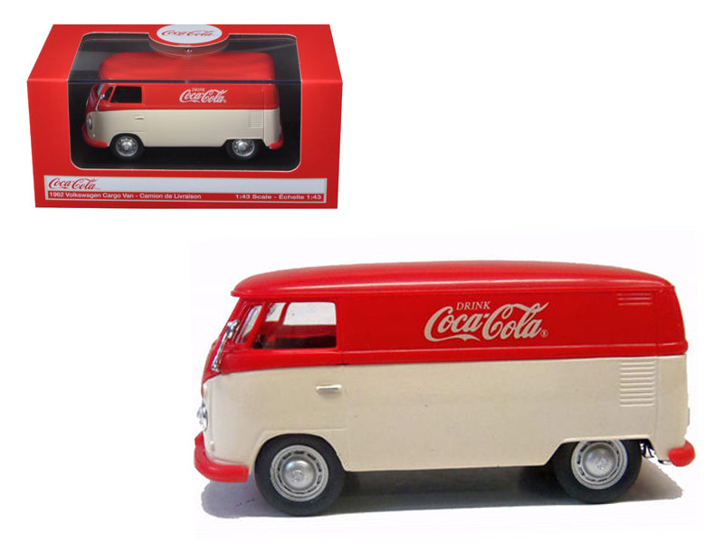 1962 Volkswagen Panel Van/Bus Minivan Drink Coca Cola Red/Cream 1/43 Diecast Model Car by Motorcity Classics - BeTovi&co