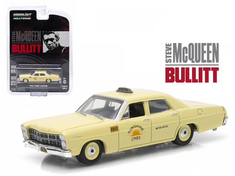 "1967 Ford Custom \Sunshine Cabs"" Taxi Steve McQueen Bullitt (1968) Hollywood Series 9 1/64 Diecast Model Car by Greenlight "" - BeTovi&co"
