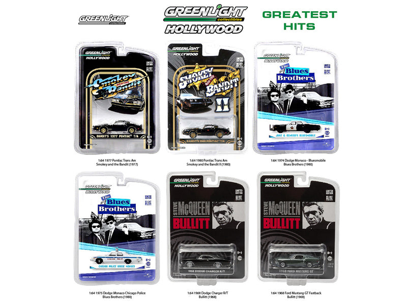 Hollywood Series Greatest Hits, 6pc Diecast Car Set 1/64 Diecast Model Cars by Greenlight - BeTovi&co