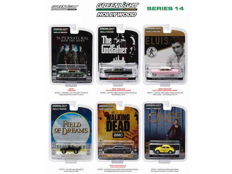Hollywood Series / Release 14, 6pc Diecast Car Set 1/64 by Greenlight - BeTovi&co