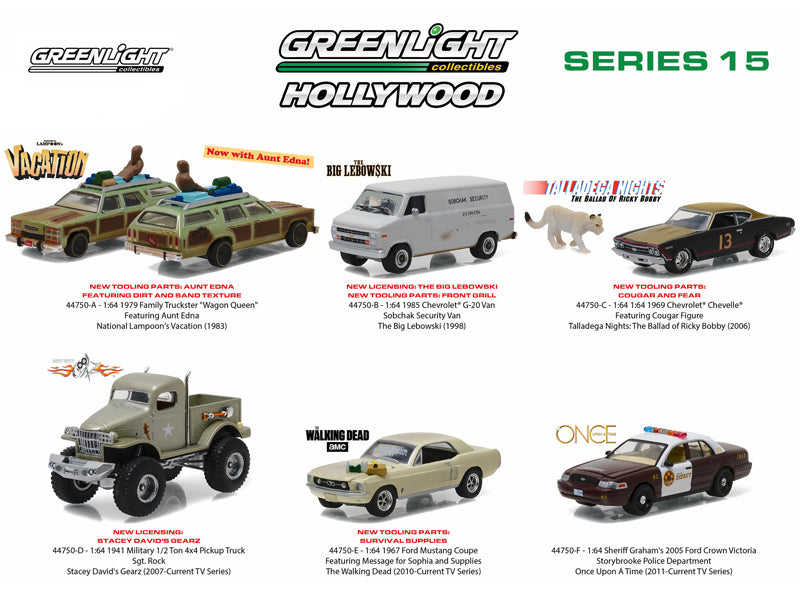 Hollywood Series / Release 15, 6pc Diecast Car Set 1/64 Diecast Model Cars by Greenlight - BeTovi&co