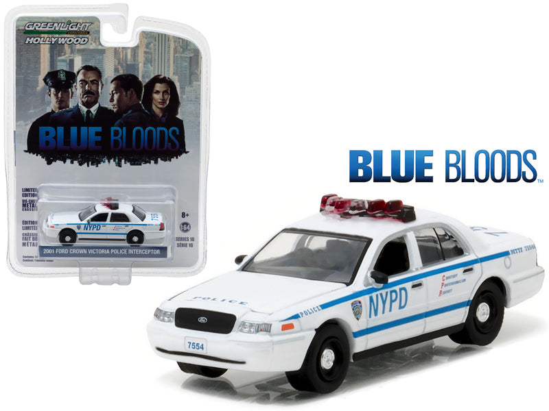 2001 Ford Crown Victoria Police Interceptor New York City Department (NYPD) 'Blue Bloods' TV Series (2010-Current) 1/64 Diecast Model Car by Greenlight - BeTovi&co