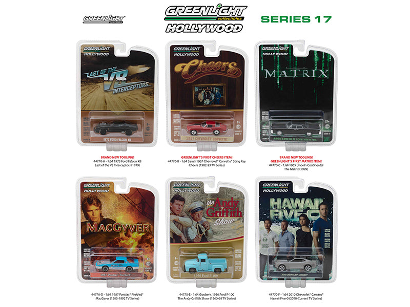 Hollywood Series / Release 17, 6pc Diecast Car Set 1/64 Diecast Model Cars by Greenlight - BeTovi&co
