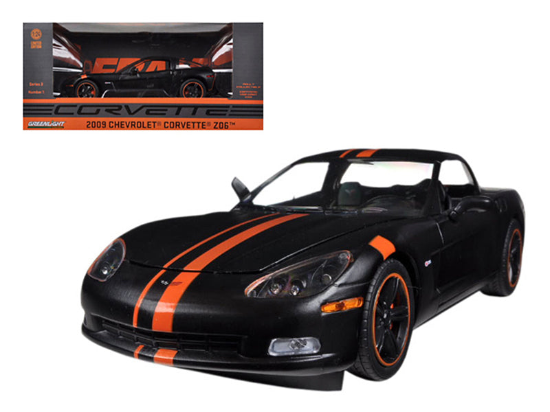 2009 Chevrolet Corvette C6 Z06 Black / Orange 1/24 Diecast Car Model by Greenlight - BeTovi&co