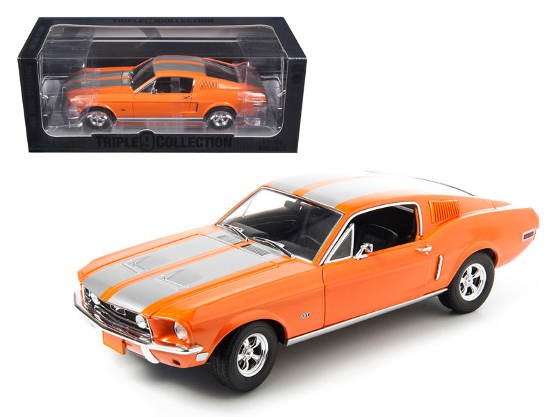 1968 Ford Mustang GT Fastback Orange with Silver Stripes Limited Edition 1 of 999 Produced Worldwide 1/18 Diecast Model Car by Greenlight - BeTovi&co