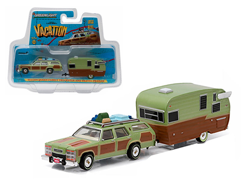1979 Family Truckster Wagon Queen 'National Lampoon - BeTovi&cos Vacation' (1983) with Shasta 15 - BeTovi&co Airflyte Trailer 1/64 Diecast Model by Greenlight - BeTovi&co
