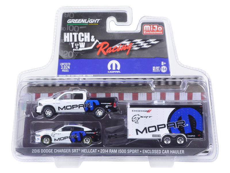 2014 Dodge Ram 1500 Pickup Truck and 2016 Charger SRT Hellcat with Car Hauler MOPAR Hitch & Tow Racing Edition 1/64 Diecast Model Car by Greenlight - BeTovi&co