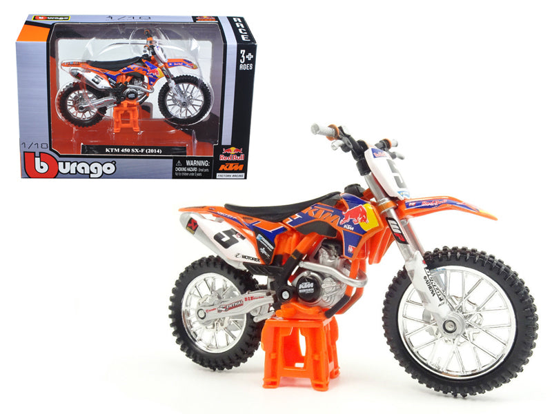 2014 KTM 450 SX-F #5 Ryan Dungey 'Red Bull' 1/18 Dirt Motorcycle Model by Bburago - BeTovi&co