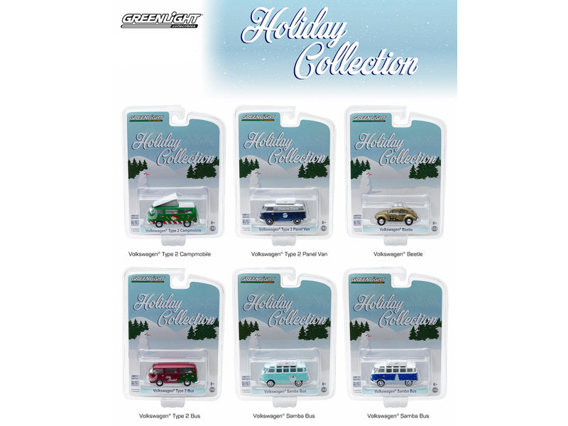 Volkswagen Holiday Collection 6pc Diecast Car Set 1/64 Diecast Model Cars by Greenlight - BeTovi&co