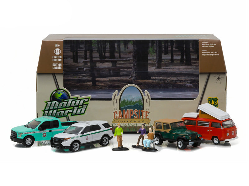Motor World Diorama Campsite Cruisers United States Forest Service (USFS) Edition 7pcs Set 1/64 Diecast Models by Greenlight - BeTovi&co