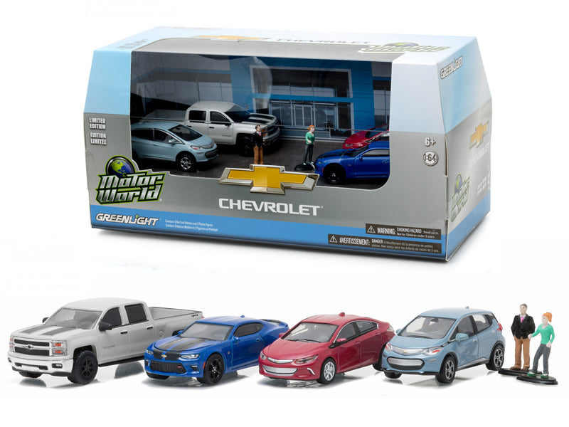 Motor World Diorama Set Modern Chevrolet Dealership 6pcs Set 1/64 Diecast Model Cars by Greenlight - BeTovi&co