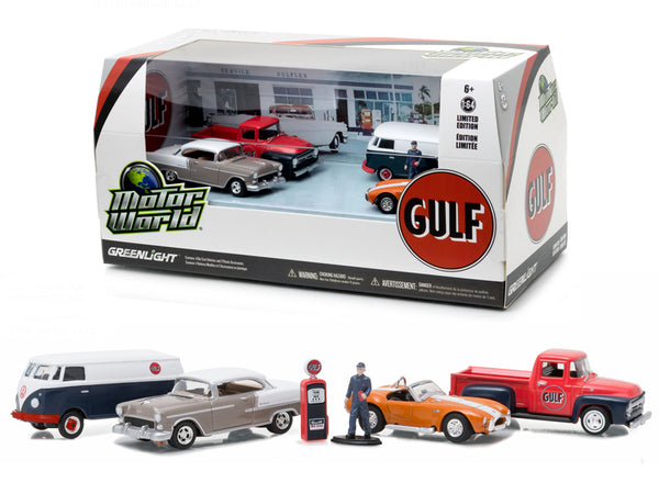 Motor World Diorama Set Gulf Oil Vintage Gas Station 6pcs Set 1/64 Diecast Model Cars by Greenlight - BeTovi&co