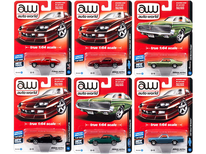 Autoworld Deluxe 2017 Release 1A Set Of 6 Cars 1/64 Diecast Model Cars by Autoworld - BeTovi&co