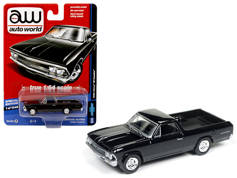 1966 Chevrolet El Camino Gloss Black 'Auto World Deluxe' Limited Edition to 1248pcs 1/64 Diecast Model Car by Autoworld - BeTovi&co