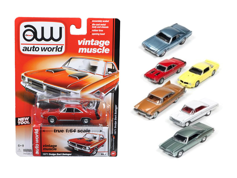 Autoworld Muscle Cars Release 5A Premium Licensed Set Of 6 Cars 1/64 Diecast Model Cars by Autoworld - BeTovi&co
