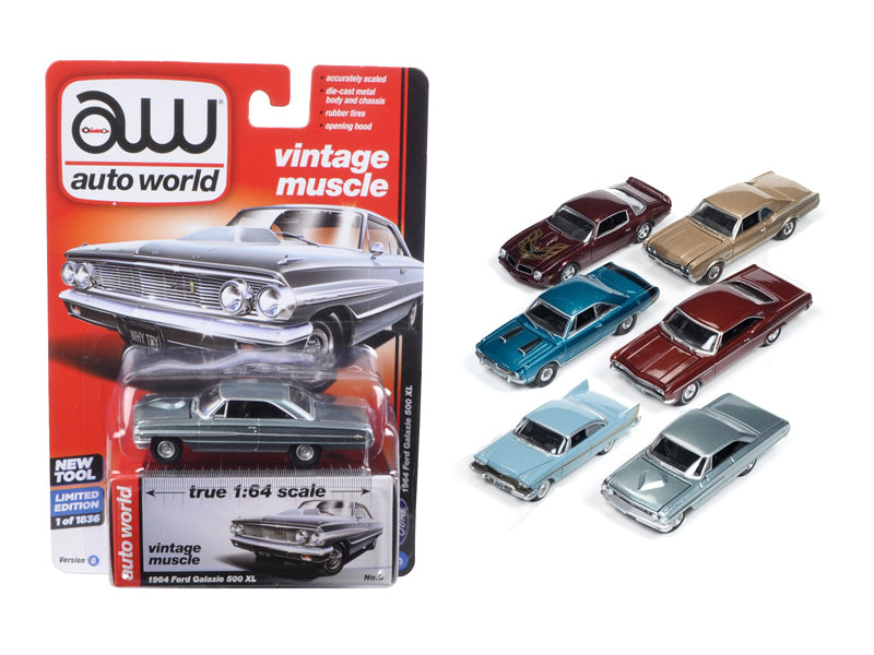 Autoworld Muscle Cars Release 5D Premium Licensed Set Of 6 Cars Limited Edition to 1836pcs 1/64 Diecast Model Car by Autoworld - BeTovi&co