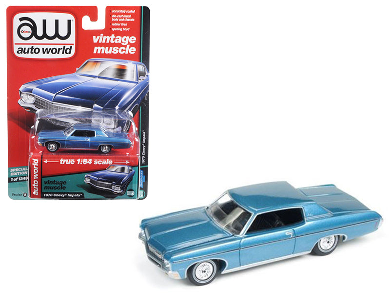1970 Chevrolet Impala Light Blue 'Auto World's Premium' 1/64 Diecast Model Car by Autoworld - BeTovi&co